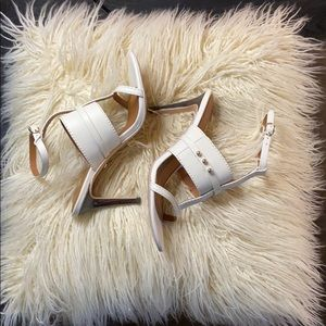 White leather strappy heels